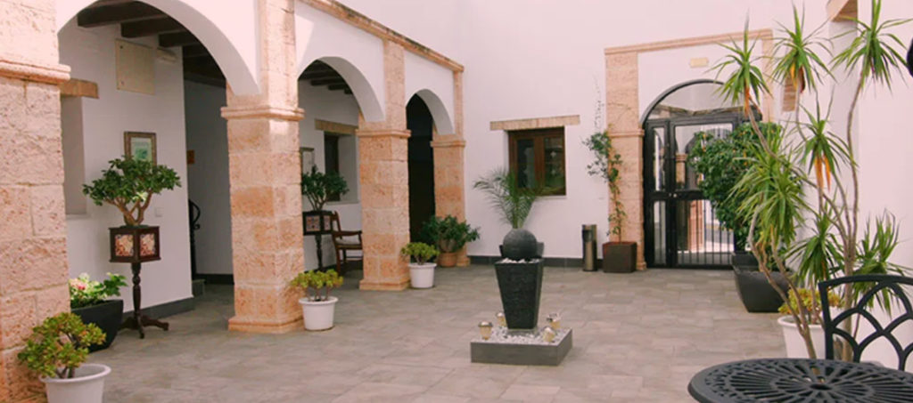 The courtyard on the Spanish retreat