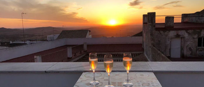 Three glasses of fizz on the rooftop in Spain